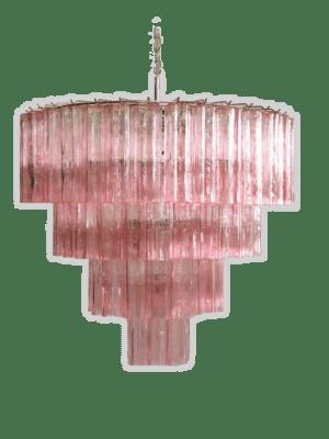 Murano lysekrone 78 rosa tuber