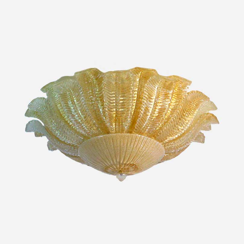 gul loftlampe murano mundblæst glas