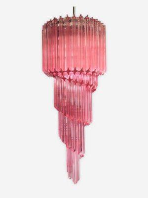 Murano Lysekrone - spiral rosa