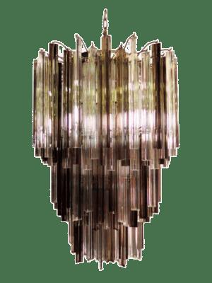 murano lysekrone 184 prismer rogfarvet kla