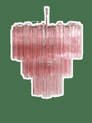 Italiensk lysekrone i Murano-glas og forniklet metalstruktur. Det pansrede polerede nikkel understøtter 48 store rosa glasrør i stjerneform.