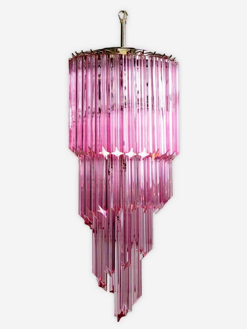 Rosa murano lysekrone i rosa farvet prismer