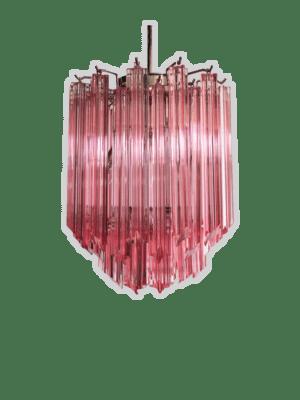 Murano-lysekrone-rosa-prismer-kristallkrona