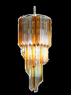 Murano lysekrone spiral gul klar 54 prismer