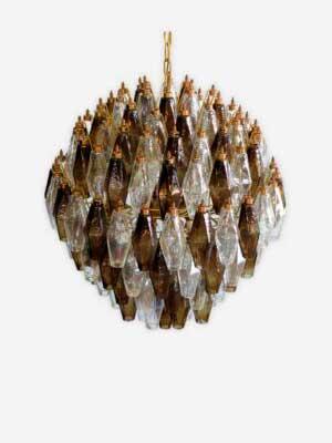 poliedri røgfarvet klar murano lysekrone