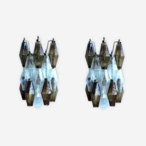 Murano væglamper i røgfarvet og klare glas
