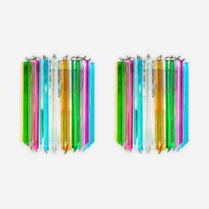 murano væglampe i mulrifarvet krystal prismer