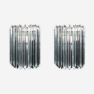murano væglampe i klare krystal prismer