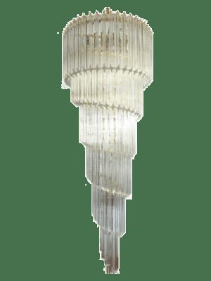 Fantastisk Murano lysekrone lavet af 86 Murano krystal prisme (quadriedri) i en krom metalramme. Formen på denne lysekrone er spiral.