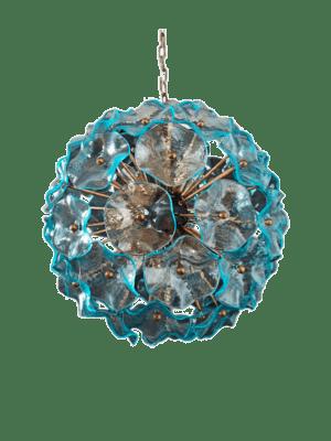Murano lysekrone blå poppy