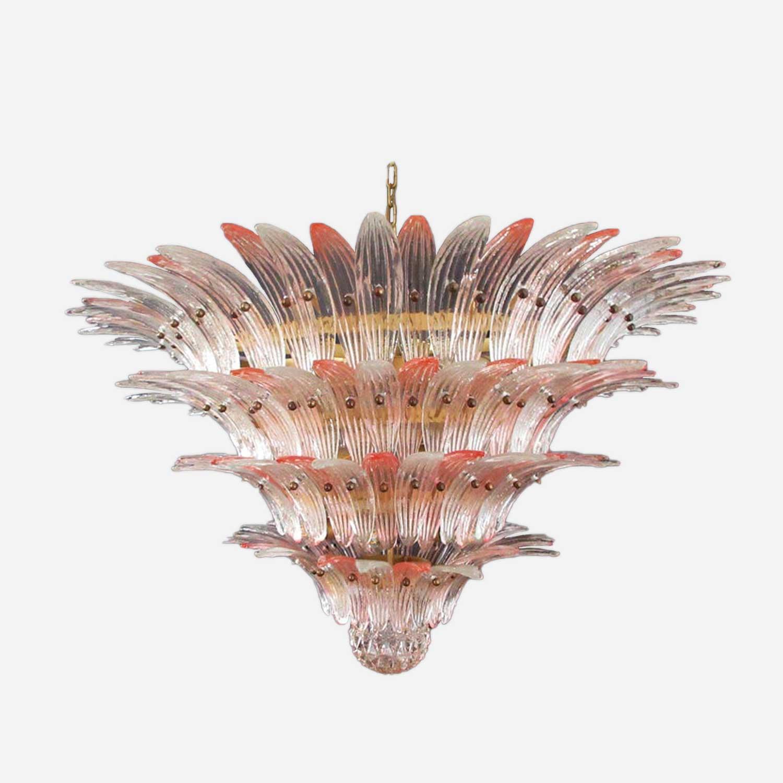murano lysekrone i rosa og klart farvet glas
