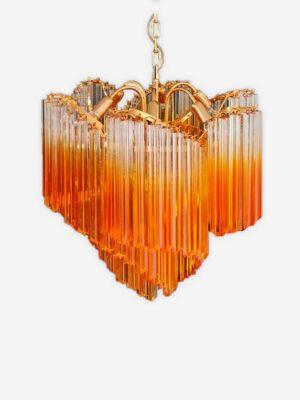 rav farvet murano lysekrone på messing stel