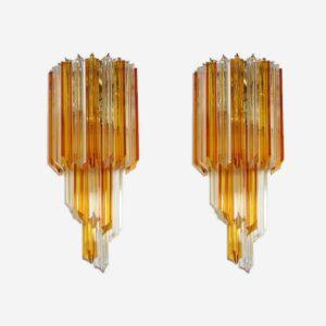 Fantastisk par Murano væglamper lavet af 16 Murano krystal prismer. prismer i klart og gule glas