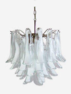 Murano lysekrone i klart transperant glas