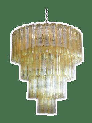 Murano lysekrone 78 gule tuber kristallkrona