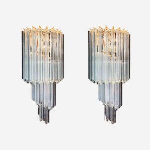 Murano væglamper i klart glas, prismer