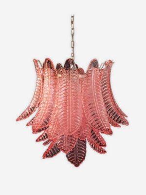 Rosa murano lysekrone med 36 glas blade