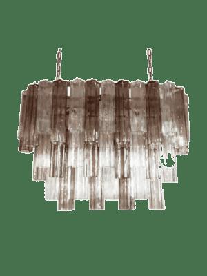 Elegant italiensk lysekrone lavet af 62 smukke klare og røgfarvet Murano tuber. Det polerede nikkel stel bærer 62 store skyggefulde flerfarvede Murano tuber i stjerneform