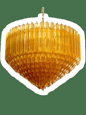 Murano-lysekrone-spids-rav-kristallkrona