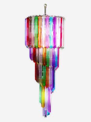 multifarvet murano lysekrone i multifarvet prismer
