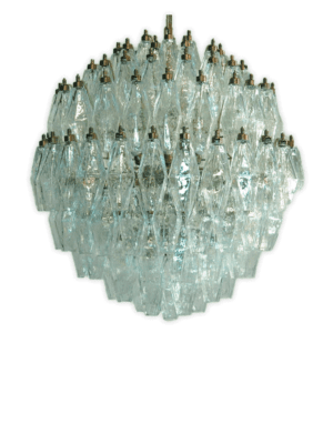 Murano lysekrone klar poliedri 140 glas