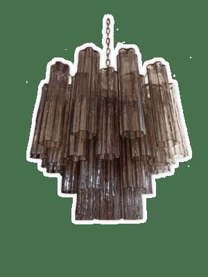 Murano lysekrone 36 tuber røgfarvet kristallkrona