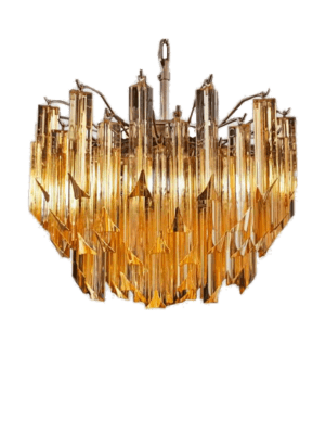 Murano lysekrone 107 gule prismer.