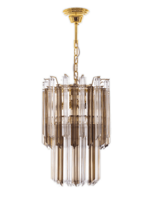 Murano lysekrone rogfarvet klare prismer kristallkrona