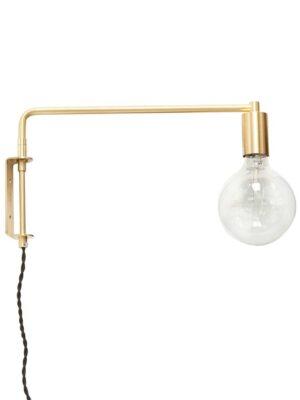 Væglampe m/pære, LED, guld