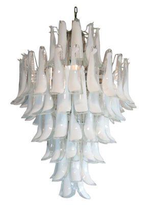 murano lysekrone 85 hvide kronblade 3