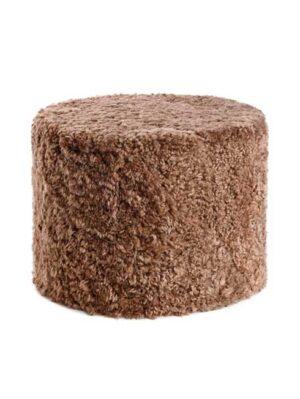 Puf - New Zelandsk - Kort uld krøllet fåreskind - cylinder - 41x31 cm - taupe