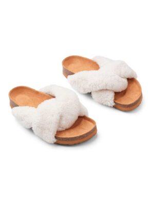 Slippers - Lammeskind - Cross - Hvid