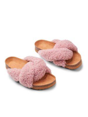 slippers lammeuld rosa