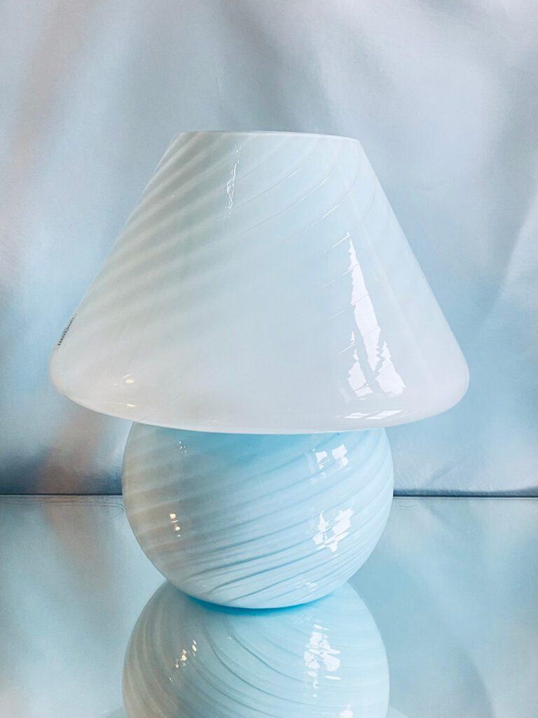 Murano venini mushroom bordlampe blå