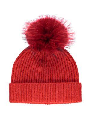 Hue - Beanie - Mathilde - 100% australsk uld/vaskebjørn - rød Orange